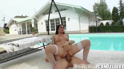 Ass Traffic Chick gets her ass trained by 2 well hung guys