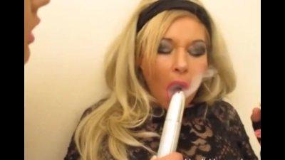 Dirty lesbian smoking sluts toying pussy and sucking big cock
