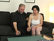 Old bitch takes both cocks after pussy toying
