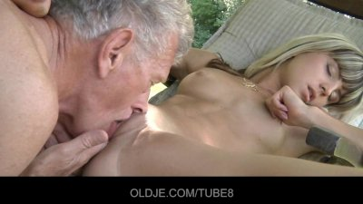 Nasty blonde seduces old guy a