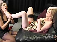 Lesbian babe in nylons sucks feet and toes as horny Milf fingering pussy