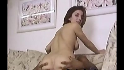 Busty Sarah blows cock and getting banged
