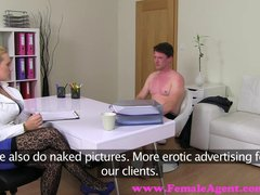 FemaleAgent. Busty blonde agent gets her first stud on the couch