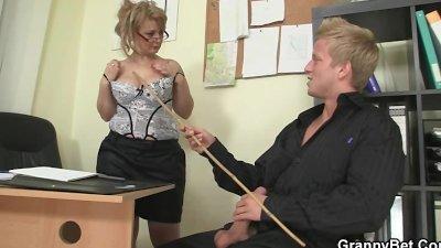 Office bitch enjoys riding his rod