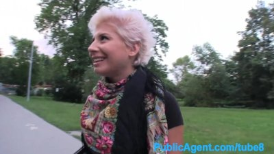 PublicAgent Blonde lesbian learns how to suck on a big dick