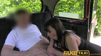 FakeTaxi Brunette stunner gets naked and fucks in a London ebony cab