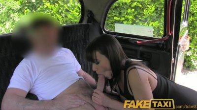 FakeTaxi Brunette stunner gets naked and fucks in a London black cab
