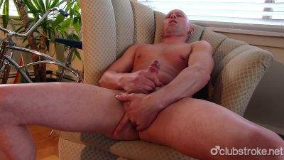 Bald Straight Guy Rob Masturbating His Big Prick