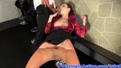 Pee covered fetish slut fucked in bar
