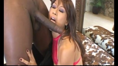 Dainty Japanese slut moans during kinky interracial sex