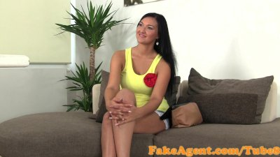 FakeAgent Tanned model fucks for work in Casting interview