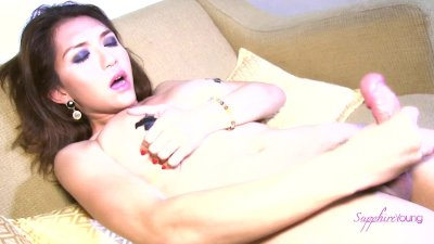 Sexy Asian shemale Sapphire Young with tape