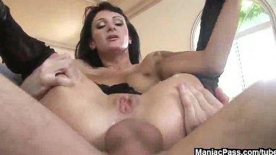 Pantyhose slut anally creampied