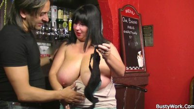 Huge barmaid riding cock at work