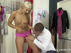 Hot blonde Dido Angel loves cock and piss