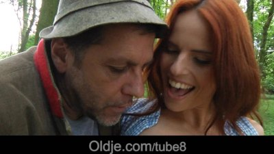 Horny teen masturbates in the forest to seduce and fuck an old man