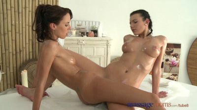 Massage Rooms Young teen with big breasts has an intense lesbian encounter