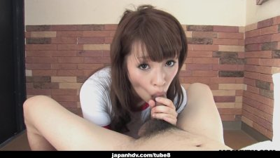 Adorable Japanese teen wanks and sucks her man's hard wang