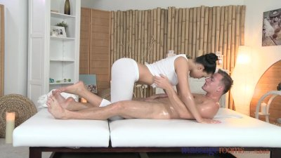 Massage Rooms Young masseuse has her shaved hole filled with hard cock