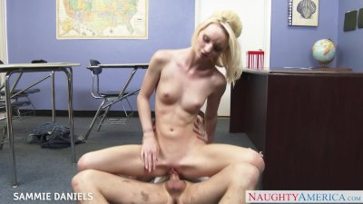 Small breasted Sammie Daniels riding cock