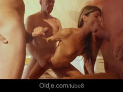 Six old men gang bang Gina Gerson in all her holes