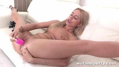 Blonde Alina Bell enjoys a but
