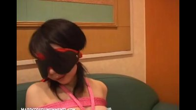Asian girl is tied and blindfolded before given orgasms