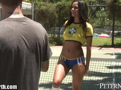 Preview 3 of Abby Lee Brazil Blows 2 Guys In Public