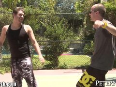Preview 4 of Abby Lee Brazil Blows 2 Guys In Public