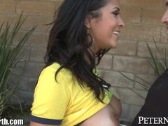 Preview 8 of Abby Lee Brazil Blows 2 Guys In Public