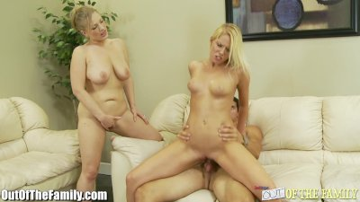 Step-Mom and Daughter Ride the Same Cock