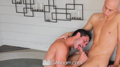 HD GayRoom - Two hot guys kiss softly and fuck