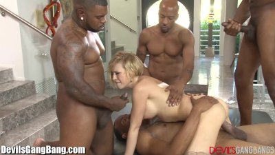 Kagney Linn Karter Gangbanged by 4 ebony Guys