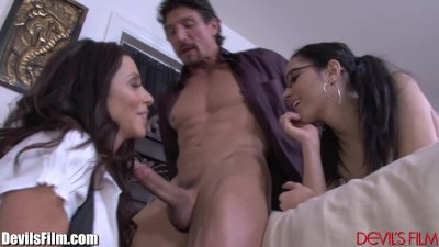 Latina Step-Mom and Guy Teach her Daughter Fucking