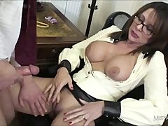 Sexy head mistress gives student ass spanking and cumshot for wanking
