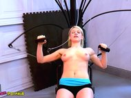 HOT Nude Gym Workout with Delilah Blue Nudist Exercise Naked Treadmill