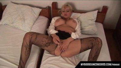 Malina May masturbate with small dildo and cameraman play with her tits