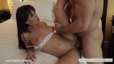 Brunette gf Rahyndee James take a big cock