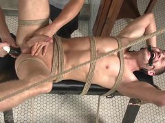 Bound Stud Cums In Own Mouth