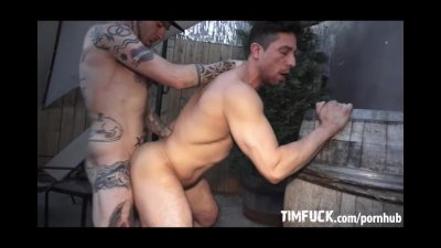 Tattoo'd Young Muscles Studs Breed Outdoors