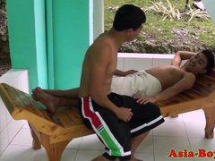 Asian twink teens outdoor bareback hard