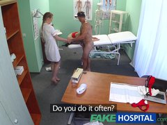 Preview 1 of Fakehospital Hot Nurse Joins Doctor And Sexy Patient For Threesome