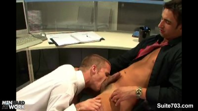 Lusty blonde gay gets fucked in the office