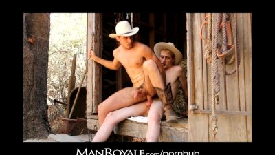 Manroyale - Two cowboy studs fuck outdoors
