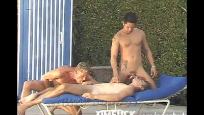 Outdoor Poolside Threesome
