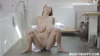 Busty Buffy brushing teeth and masturbating