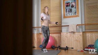 Russian teen Liona rides a rea