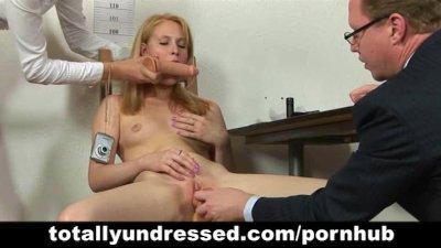 Hardcore job interview for blonde secretary babe