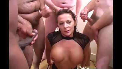 Bukkake party for English Brunette MILF Carly G