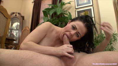 Loni Evans opens wide and prepares to swallow
